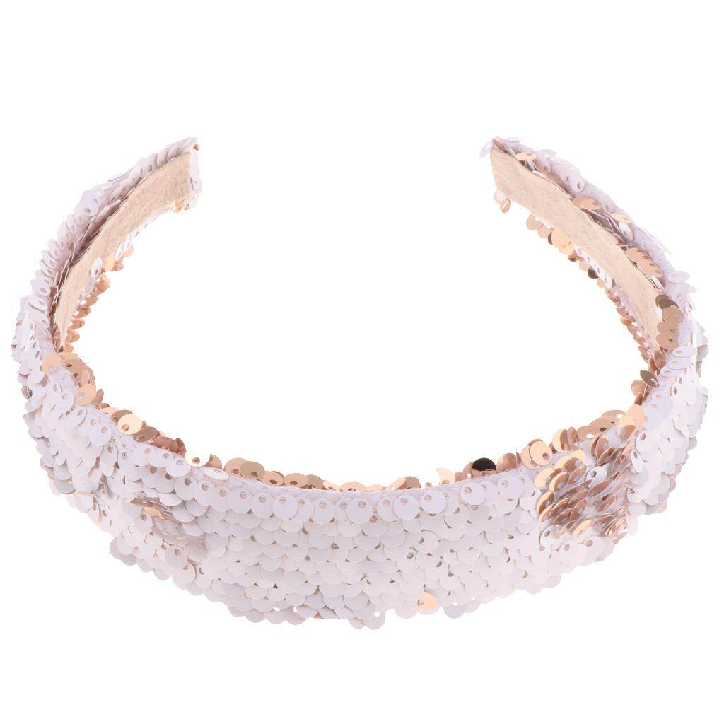MagiDeal Women Girls Sparkly Sequins Reversible Headband Alice Band Hairband White