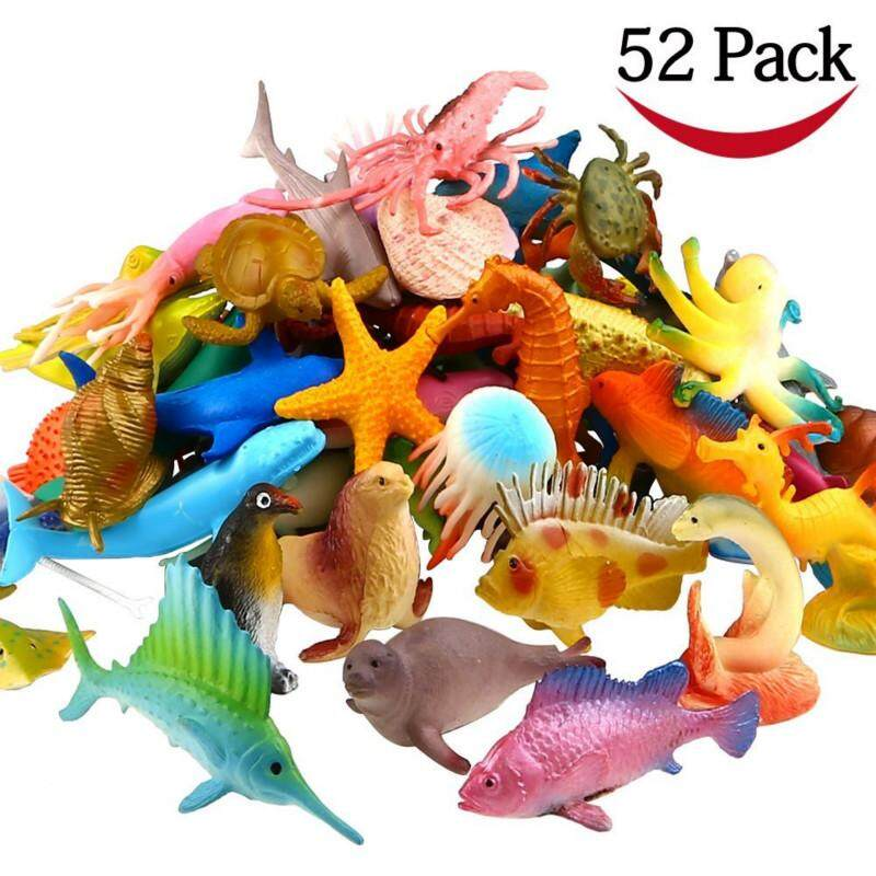 Hình ảnh Ocean Sea Animal, 52 Pack Assorted Mini Vinyl Plastic Animal Toy Set, Funcorn Toys Realistic Under The Sea Life Figure Bath Toy for Child Educational Party Cake Cupcake Topper,Octopus Shark Otter - intl