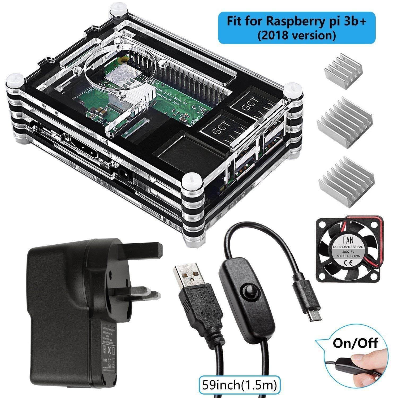 Raspberry Pi 3 B + dengan Kipas Angin, Heatsink, 5 V/2.5A Sumber Daya Listrik, mikro Usb W/On Mati Sakelar untuk Pi 3B Plus 3 Model B 2B (Cocok untuk Versi 2018 raspberry Pi)