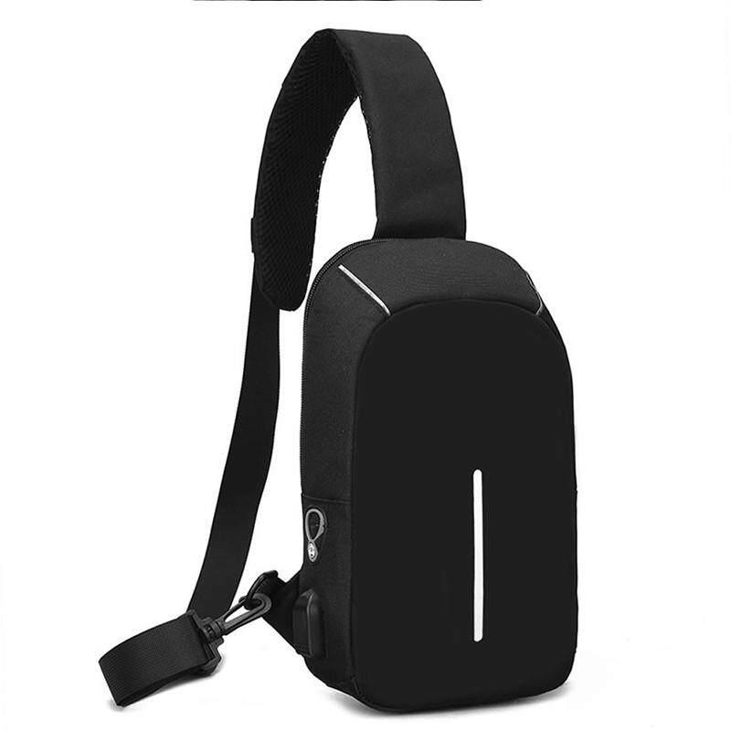 Ajkoy Tas Dada Laki-laki Besar Kapasitas USB Pengisian Headset Lubang Selempang Tas Luar Ruangan