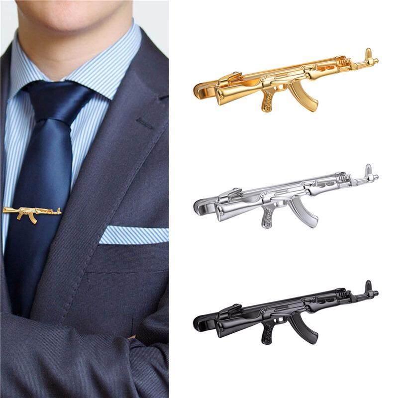 U7 3 Pcs 1 Set Dasi Klip AK47 Rifle Desain untuk Pria Gold Disepuh/Anti