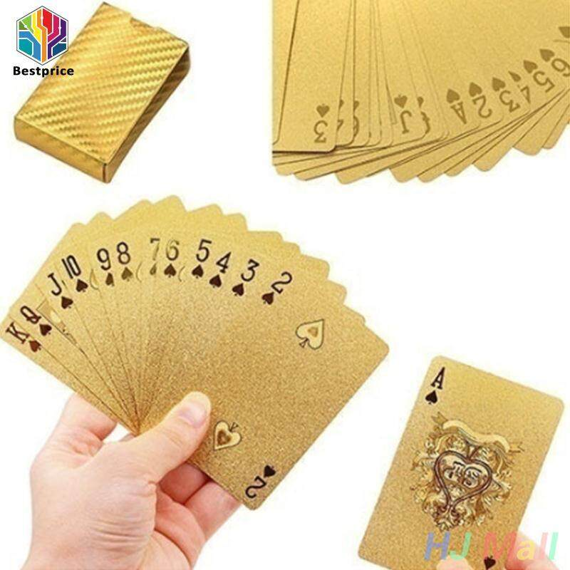 Hình ảnh Waterproof 24K Gold Foil Plated Cover Poker 54 Playing Cards Table Games UK