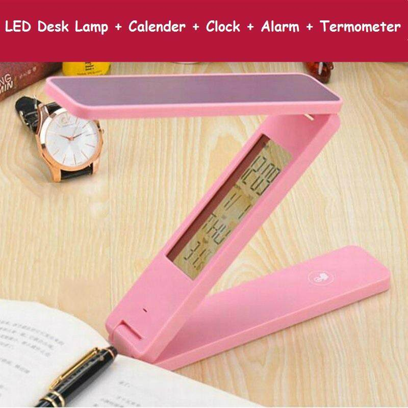 Foldable Anti-Glare LED Lamp Calender Alarm With Touch-Control