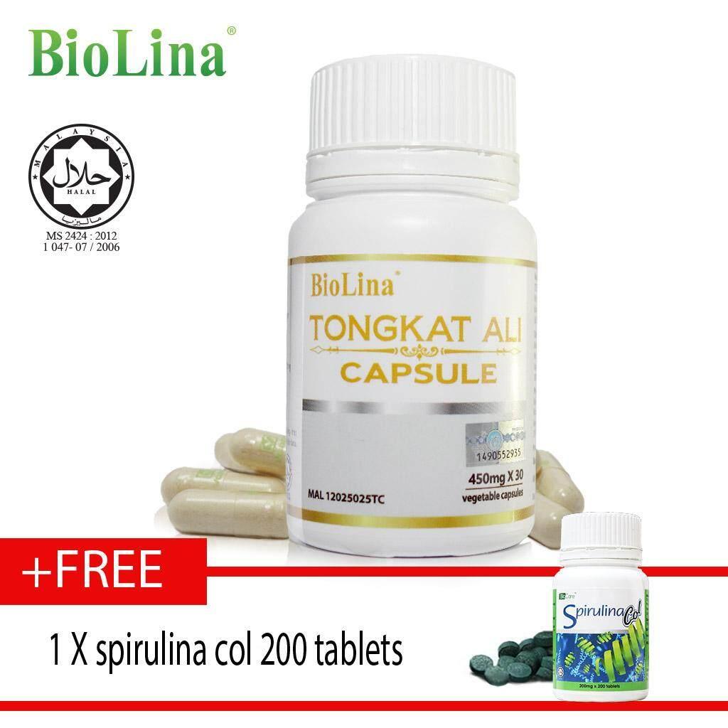 Biolina Tongkat Ali Capsule 30's x450mg free spirulina col 200 tablet ????30?