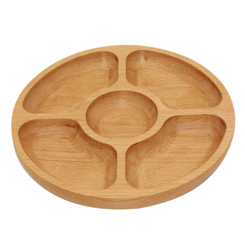 BolehDeals 25cm Wooden Tray Snack Sushi Dessert Candy Dish Plate Food Bowl with 5 Compartments for Home Hotel Party