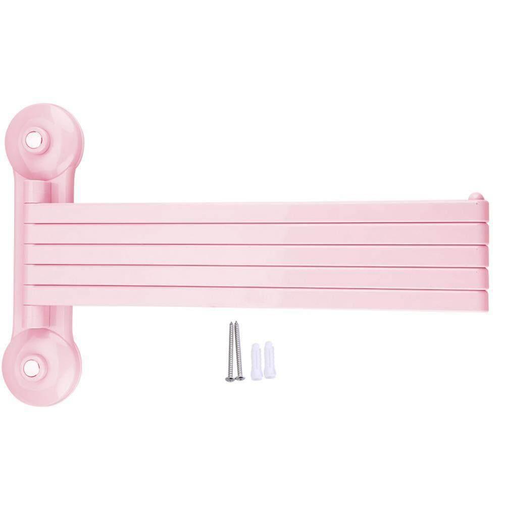 Wall Mount Rotating Towel Holder Plastic Rack 5 Bars Bathroom Shelf Storage Organizer - intl