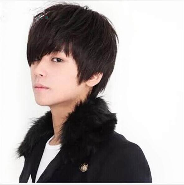 Pria Wig Korea Bintang Rambut Pendek Fashion Cosplay Rambut Palsu Halus Set  - 70a15570bf