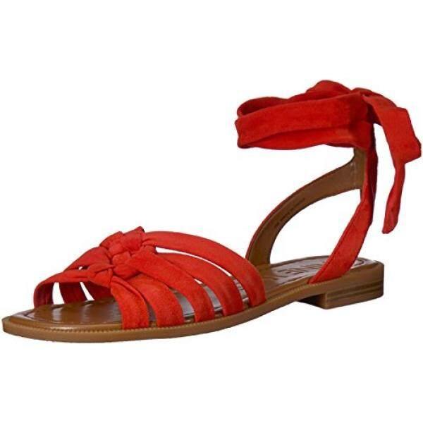 Nine West Wanita Xameera Suede Datar Sandal, Merah Suede, Medium Kami-Internasional