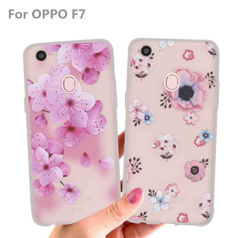 For OPPO F7 Casing Soft Floral Phone Case Cellphone Flower Cover