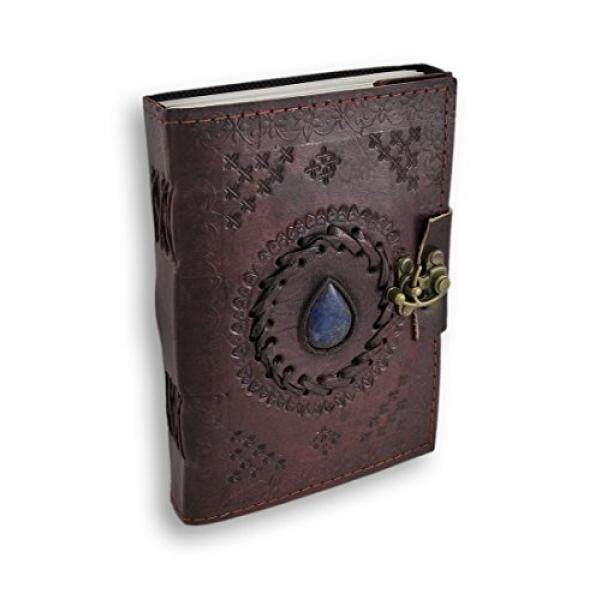 Leather Journal Embossed Blue Stone Vintage Diary Unlined Blank Book with Clasp - intl