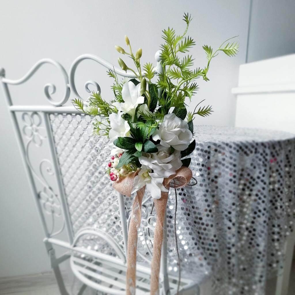 GuangquanStrade Simulation Chair Back Flower Bouquet Bridal Flower Wedding Venue Decoration