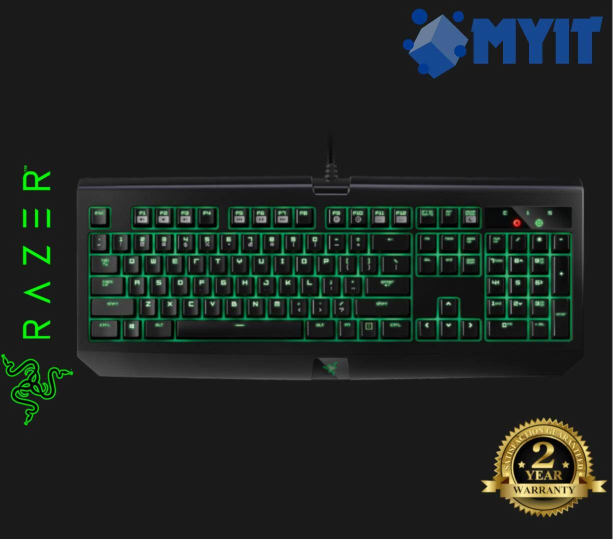 Razer Original Blackwidow Ultimate 2016 Full Mechanical Gaming Keyboard (Green Version Backlit, Clicky Tactile Key Switch)