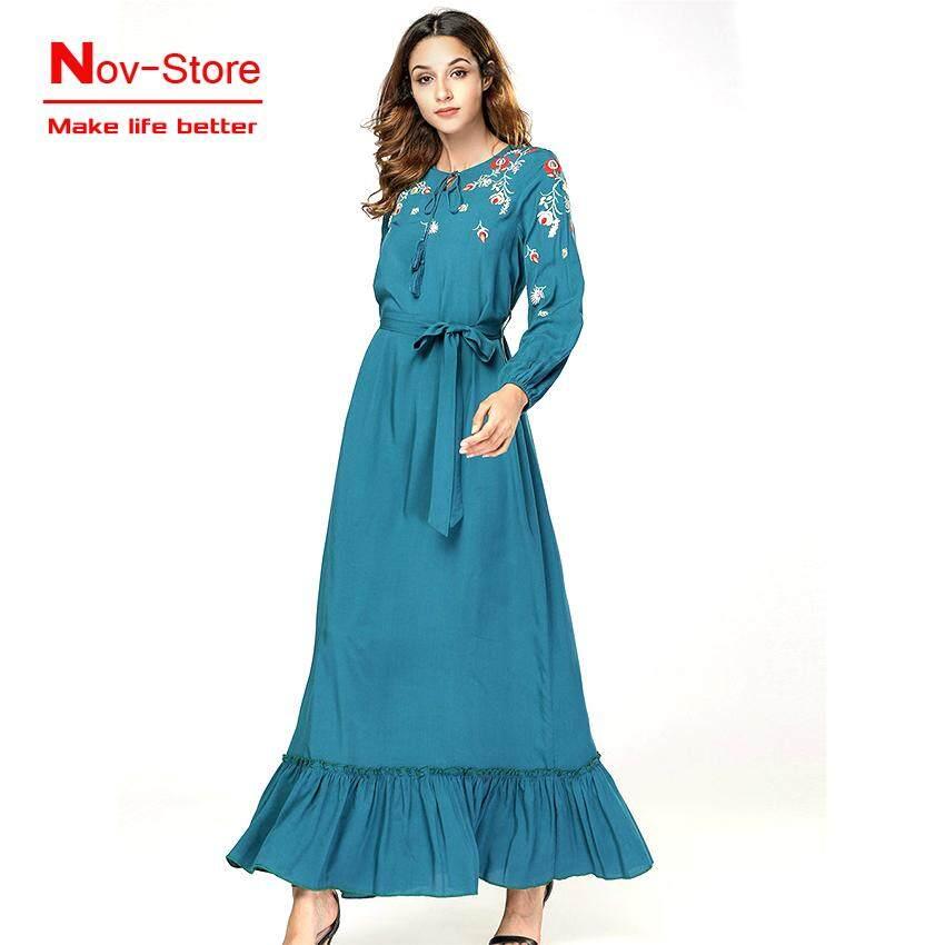 5266d0cafd Muslim Dress for Women Flowers Embroidery Dresses Arab Dubai Islamic  Clothing Ladies Plus Size Fashion Robe