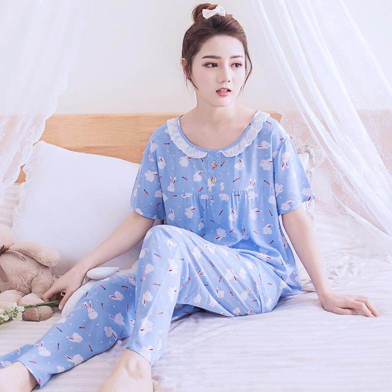 Pajamas women Summer Korean Style Fresh Students Summer Korean Style Short  Sleeve Cotton Silk Homewear Set 8dbe781fc