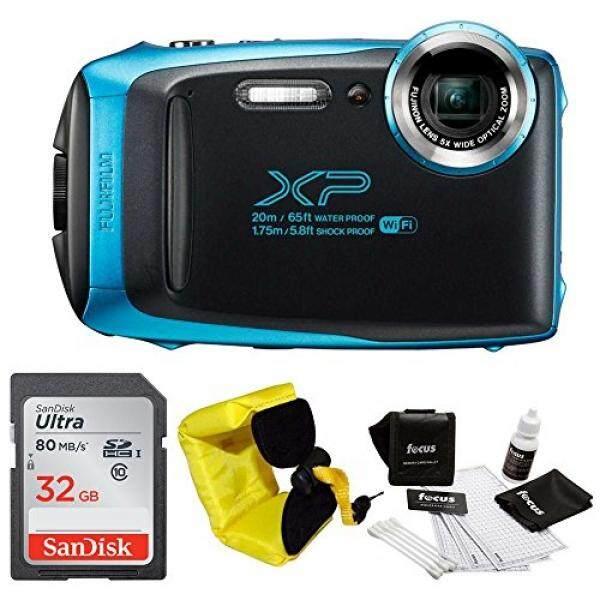 Gambar Baik Fujifilm XP130 Kasar Tahan Air WIFI Kamera Digital (Biru Langit) + Fokus Mengambang Strap & Sony 32 GB Bundel Kartu
