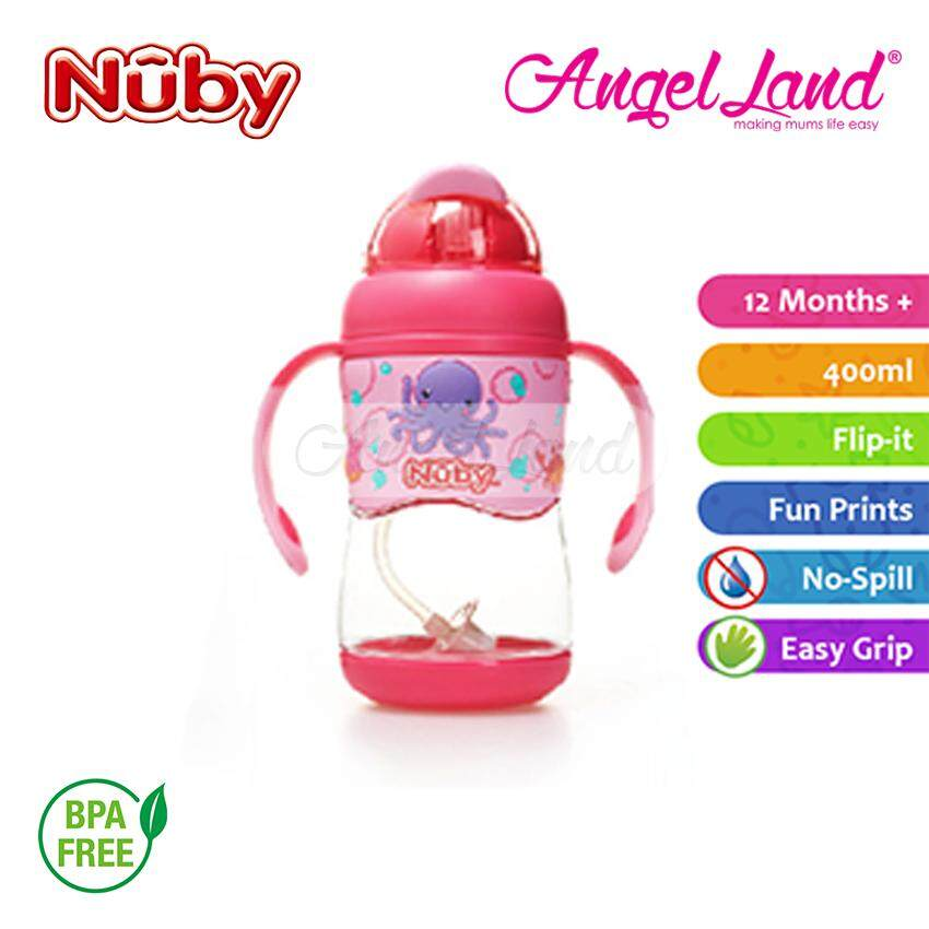 Nuby Tritan FlipIt with 3D Vinyl Wrap with Weighted Straw 400ml (12m+) NB10457