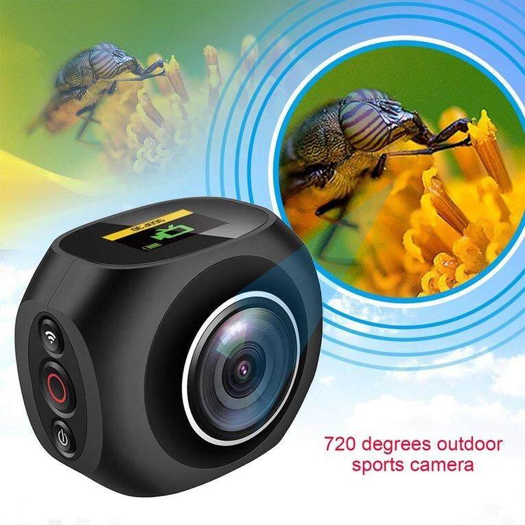 b 4K HD 360xc2xb0Panoramic kamera VR lensa ganda unik WiFi Video Aksi Olahraga kamera EU Plug
