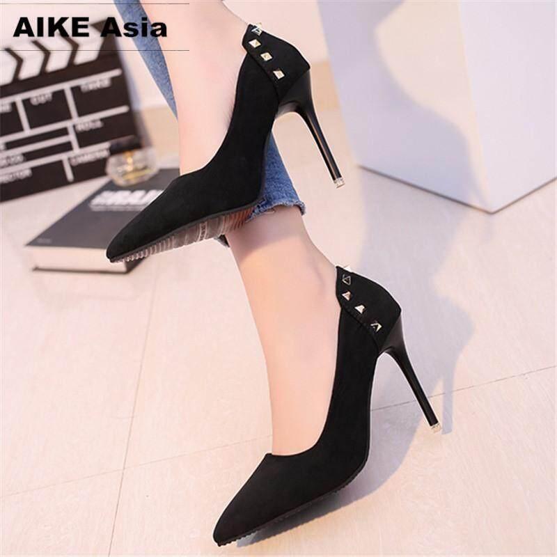 2018 Women Shoes Pointed Toe Pumps Suede Leisure Dress Shoes High Heels Boat Wedding Tenis Feminino Rivet 10cm