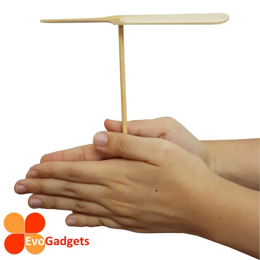 Eco Friendly Wooden Unpainted Hand Spin Propeller Toy for Children and Team Building