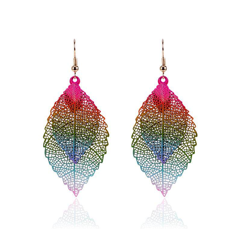 85428faf4098cf fashion Luxury boho Double color Leaf Dangle earrings Vintage Leaves long  tassels drop Earring for women