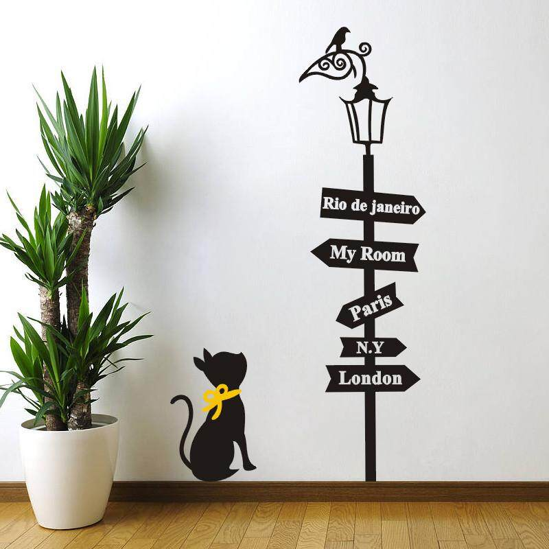 Lovely Cat Under The Street Light Wall Art Decals For Kids Room Home  Decoration Cartoon Diy