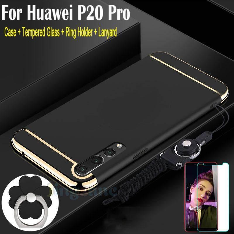 untuk huawei p20 pro casing ponsel kaca antigores dudukan cincin lanyard luxury 3 in1 desain matte hard pc edge bumper pelapis kembali casing ponsel shell ...