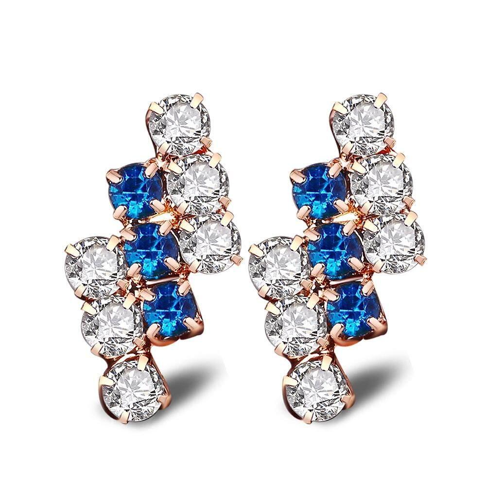 1 Pair 18 K Gold Geometris Abadi Sterling Perak Kristal Stud Anting untuk Wanita, 21*9 Mm (Biru)-Internasional