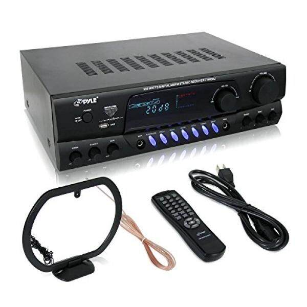 Pyle 300 Watt Home Audio Power Amplifier - Stereo Receiver w/USB, AM FM Tuner, 2 Microphone Input w/Echo for Karaoke, Great Addition To Your Home Entertainment Speaker System - PT560AU / From USA