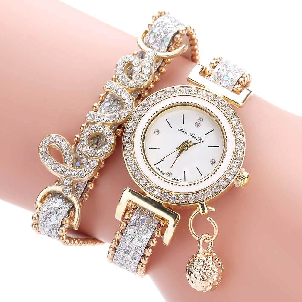 De Fashion Wanita Multi Layer Gelang Arloji QUARTZ Alloy Kristal Cinta Huruf Band Jam Tangan-