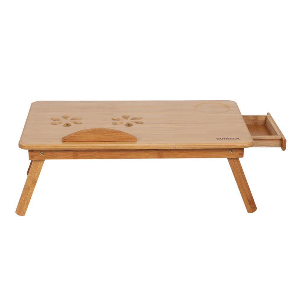 Portable Folding Bamboo Bed Laptop Desk Adjustable Lap Notebook Table Stand Tray with Drawer - intl