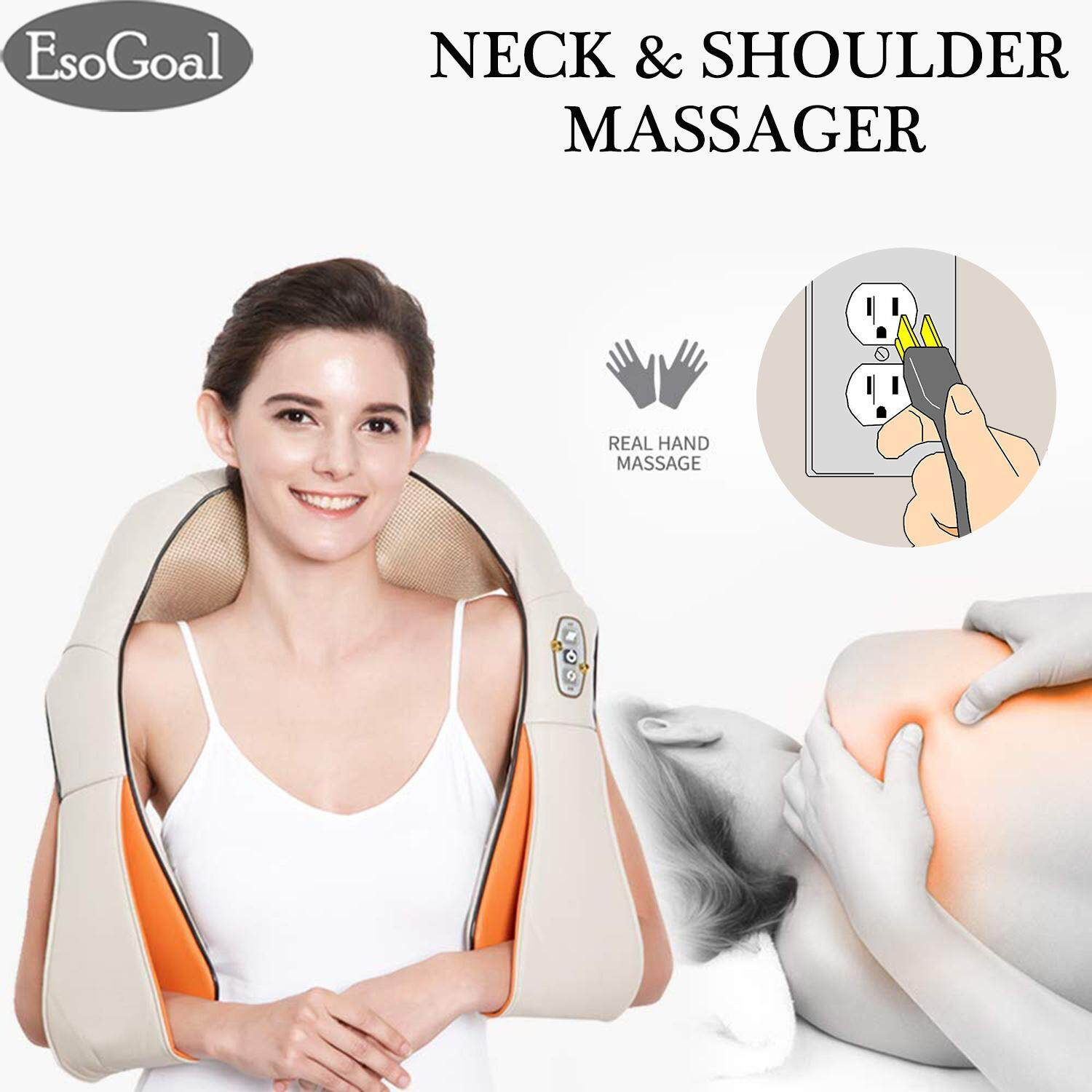 Active Electric Infrared Heating Kneading Neck Shoulder Back Body Spa Massage Pillow Car Chair Shiatsu Massage Device Massage & Relaxation