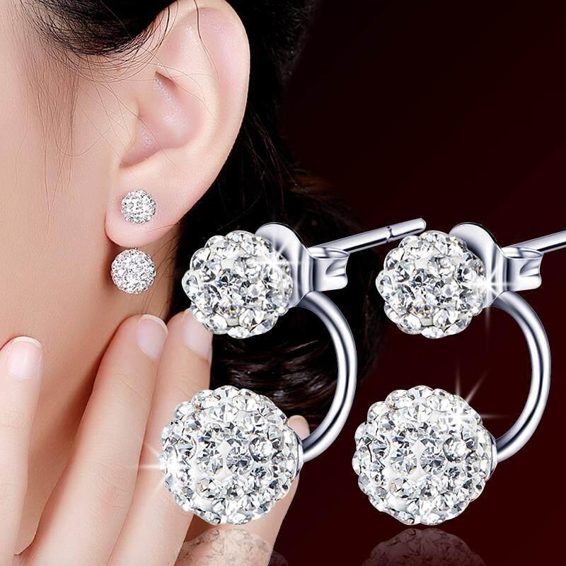 925 Sterling Ear Stud Elegant women Shambhala Man-made Diamond Hook Earrings Diamond Set Princess