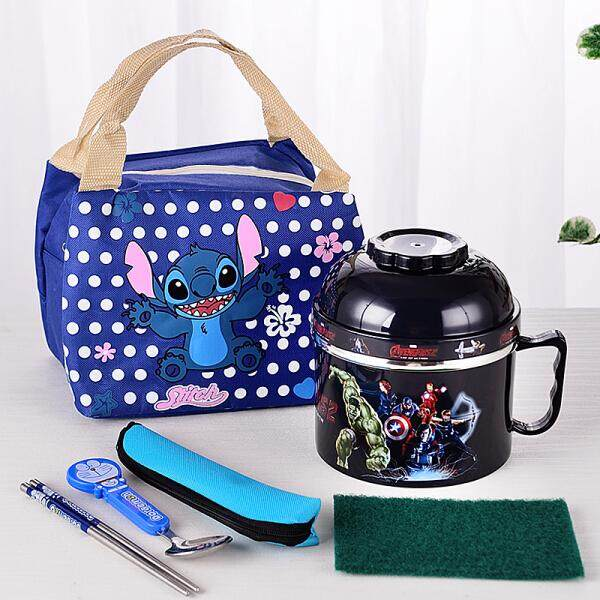 Cute Cartoon Student Children Insulation 2 Double Layered Fast Food Cup Noodle Bowl(New Black