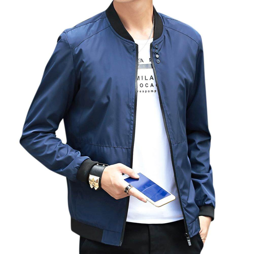 Veecome Men Baseball Jacket Solid Color Stand-Up Collar Coat For New Year By Veecome.