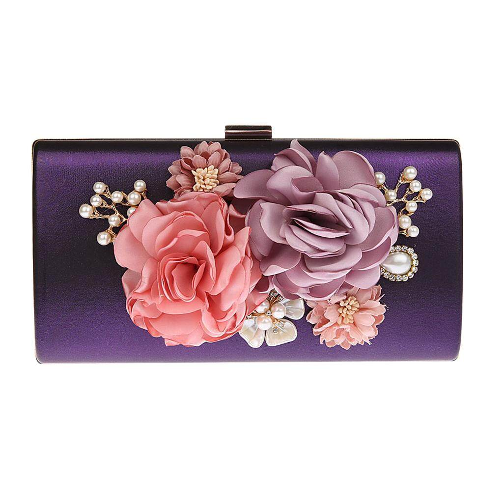 Hot Deal Khi Mua MagiDeal Women Flower Clutches Evening Bags Handbags Wedding Clutch Bag Purse Purple
