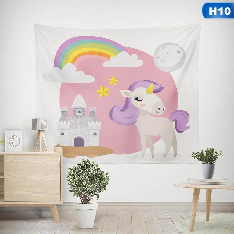 BZY Wall Hanging Tapestry Cute Unicorn Animal Hippie Mandala Yoga Mat House Decorative Tapestries Beach Towel H10