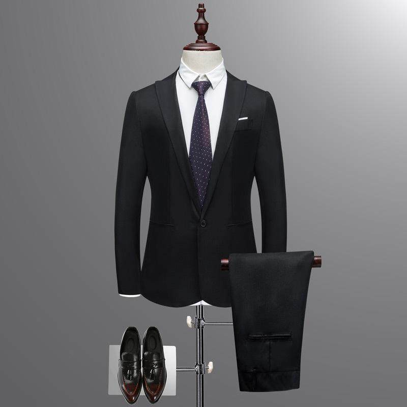 9c2464eaff6 Business and Leisure Suit Men Two-piece Coat Trousers Suit Groom's Wedding  Blazer+ Long Pants