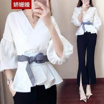 9bb0be69a7f Hot Women s Casual Shirt Summer Casual Chiffon Short Sleeve Top and 9 Pants