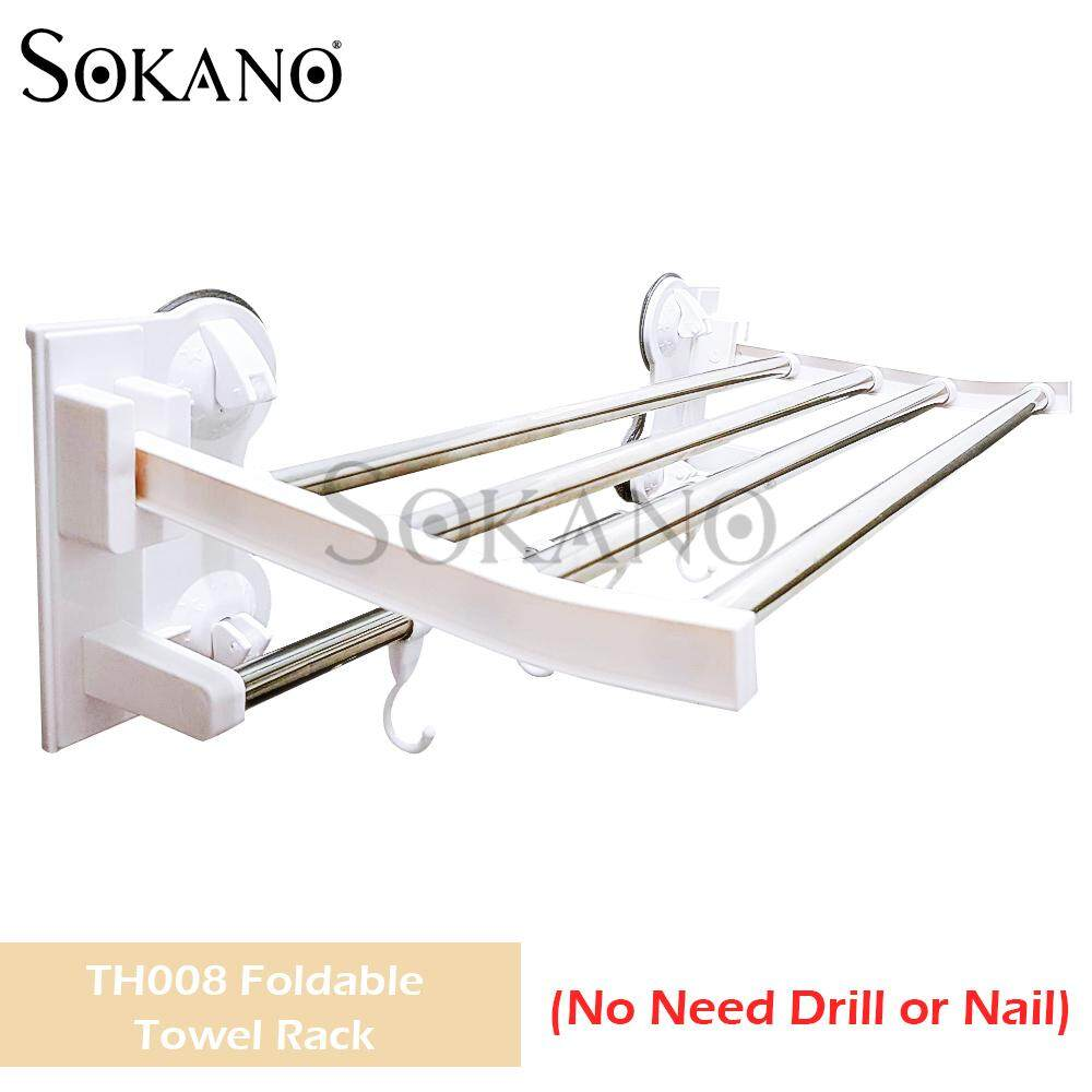 SOKANO TH008 Foldable Towel Rack with 4 Strong Suction Cups and Hooks (No Need Drill or Nail)