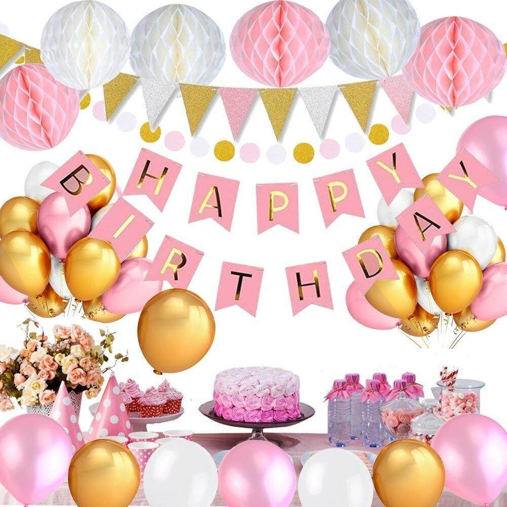 Birthday Decorations For Girls Happy Bunting Banner With 6PCS Honeycomb Balls 98 Feet