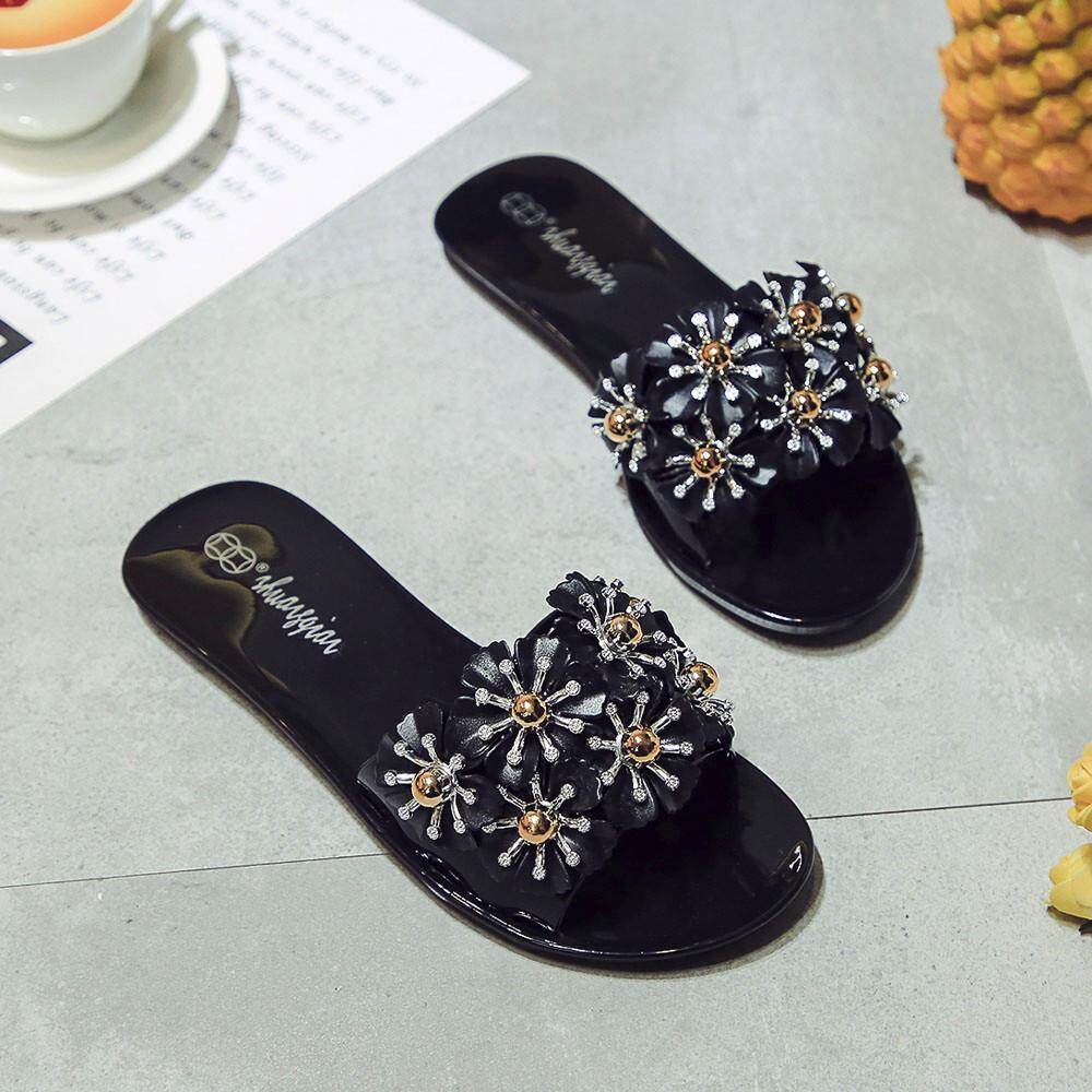 Ladies Summer Beach Floral Platform Slippers Casual Wedge Sandals Women Shoes - intl