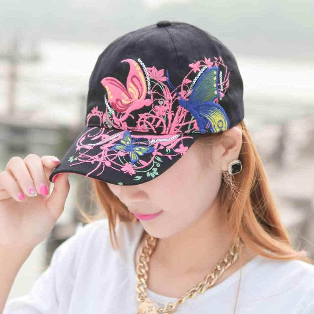 Giá bán ZLOYI Women Adjustable Butterfly Flower Embroidered Cap Baseball Hat Summer Beach - intl