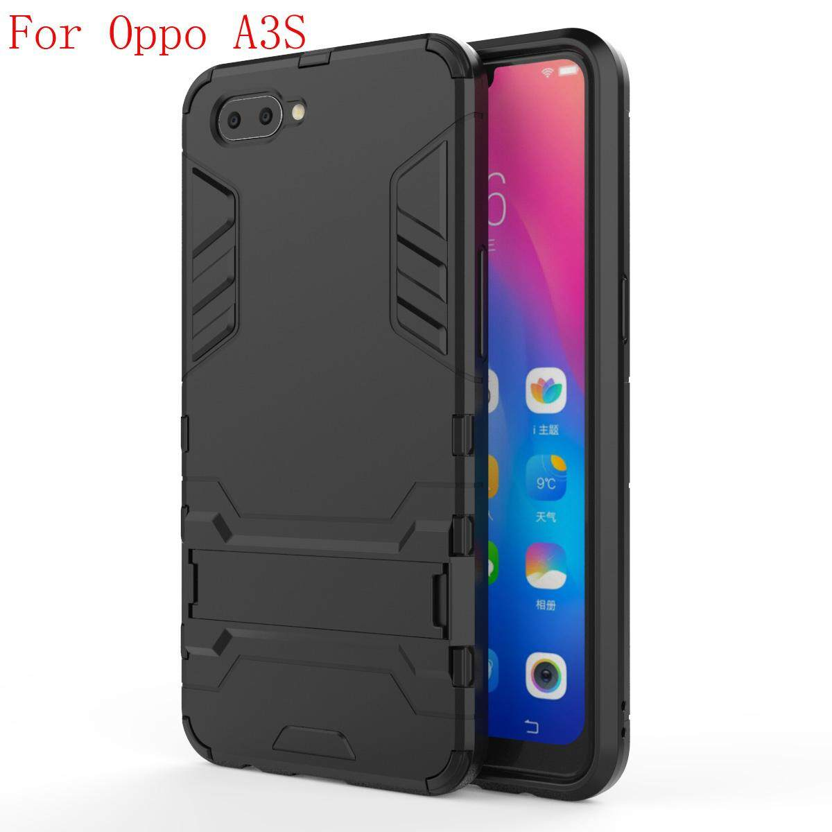 For Oppo A3s/Realme C1 Armor Dual Layer Shockproof Case Built-in Holder casing