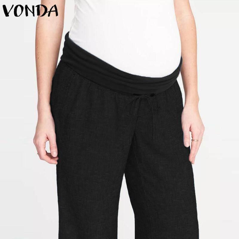 b6bfdeed65972 VONDA Maternity Pants Full Length Comfortably Breathable