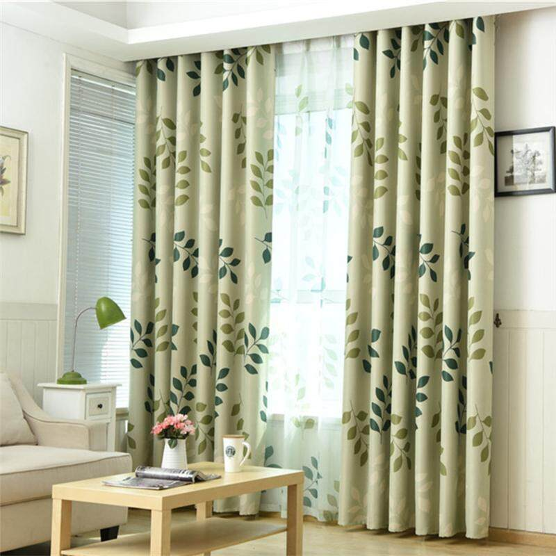 Country style leaves printed curtain fabric for window balcony bedroom blackout curtain - intl