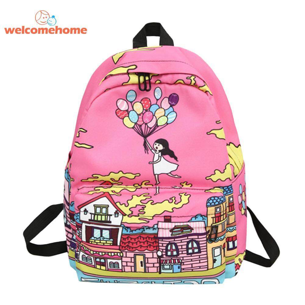 Cartoon Graffiti Print Backpack Women Girl Nylon Travel Shoulder Schoolbags By Welcomehome.