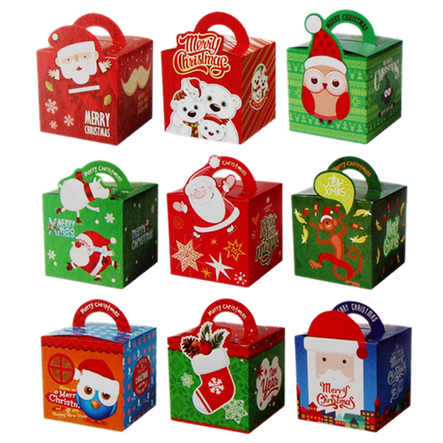 50PCS Assorted Style Merry Christmas Candy Fruit Gift Present Paper Boxes with Handle for Festival Holiday Party Supplies