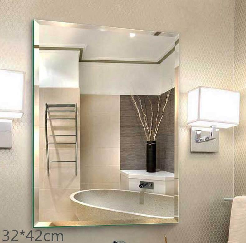 Bathroom Mirror Punching Free Toilet Wall Hanging Cosmetic Makeup 30 42cm