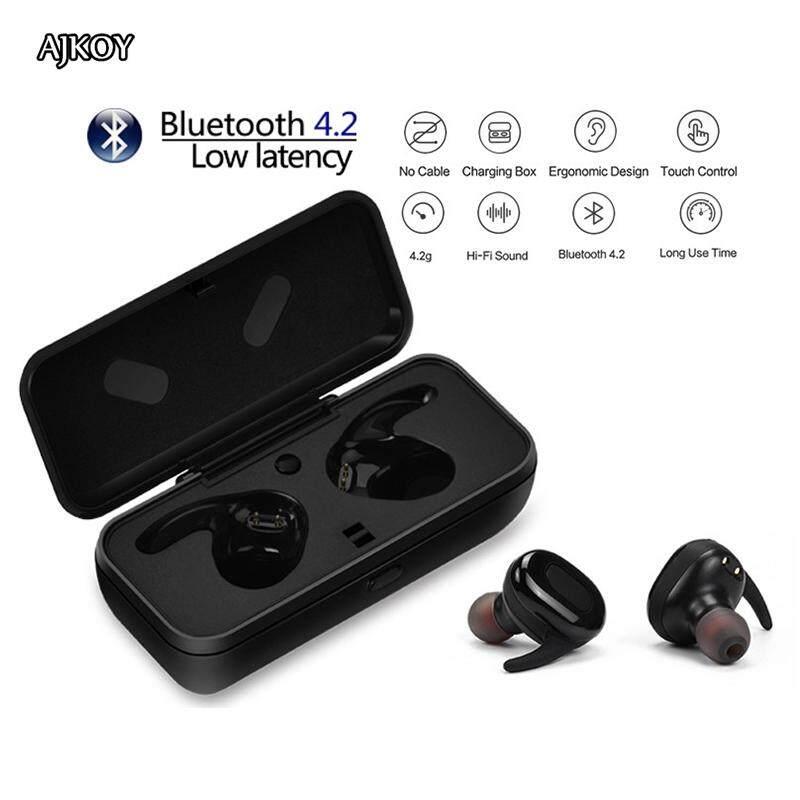 Ajkoy X26 Bisnis Headphone Bluetooth Olahraga Built-In Mikrofon Sweatproof Stereo Kembar Headset Dalam Telinga