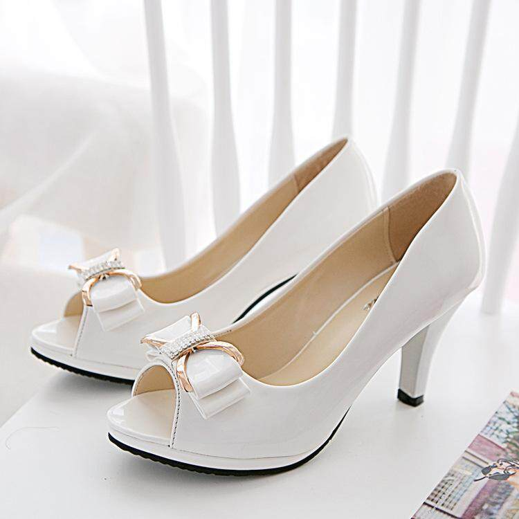 328a93ec15 Women Platform Fish Mouth High-heeled Shoes Lady Patent Leather Square Toe  Sandals Female Fashion